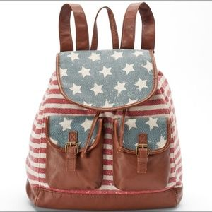 American Flag backpack with leather accents